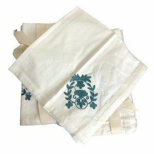 Pier 1 Imports Teal Botanical Embroidery Napkins